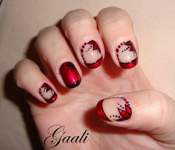 nail art rouge et noir les d buts d 39 une nail art addict. Black Bedroom Furniture Sets. Home Design Ideas