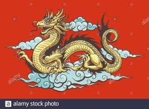dragon-traditionnel-chinois-dore-dans-le-ciel-sur-fond-rouge-illustration-vectorielle-2df50f5